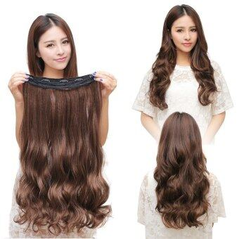 Harga One Piece Clip 5 Clips in Synthetic Human Hair Extensions Long WavyCurly Hair Light Brown