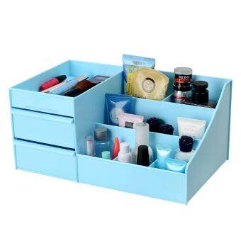 Harga Plastic Drawer Style Makeup Cosmetics Storage Box Case - Blue