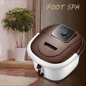 Harga QNIGLO All in one Foot SPA Bath Massager w/ heat, HF Vibration, O2Bubbles Red Light Brown