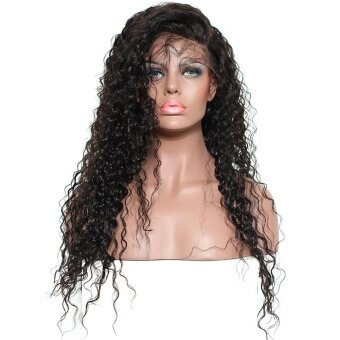 Harga SDP 250% Density Curly Lace Front Human Hair Wigs Pre PluckedBrazilian Remy Hair Honey Queen Bleached Knots Fake Hair 18inches -intl