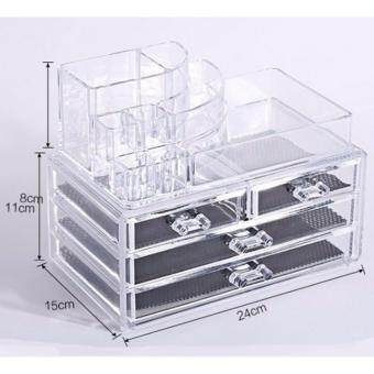 sinma 3 layers clear acrylic cosmetic drawers makeup jewelry storage display organizer box lipstick holder stand