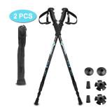 2 Pieces Adjustable Retractable Anti-Shock Trekking Pole Hiking Sticks Climbing Walking