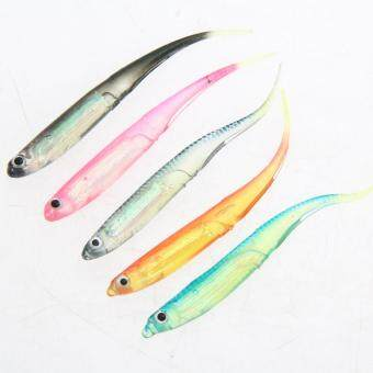 5pcs Soft Lure for Fly Fishing Shad Worm Swimbaits Jig Head BaitLures - 5