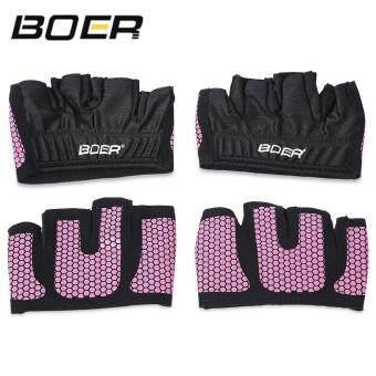 BOER Half Finger Fitness Gloves Anti-slip Breathable Four FingersPalm Gloves Gym Exercise Sport Body Building Weightlifting (Pink) - 5