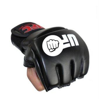 Harga Boxing Gloves Lengthened Half Finger Cuff Leather MMA FightingFight Tiger Muay Thai Boxing Gloves Glove Men and Women Boxeo