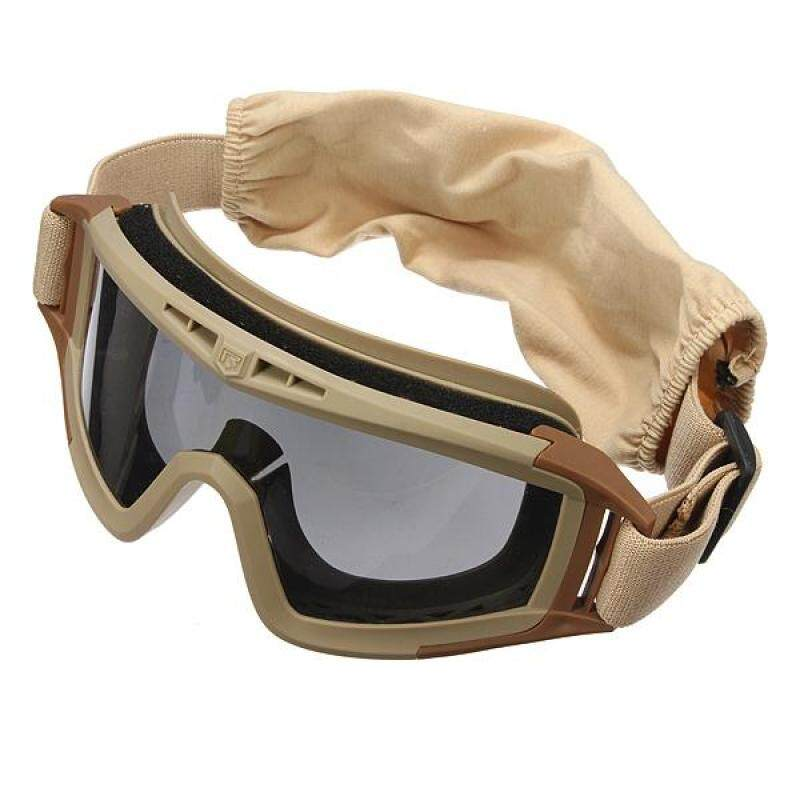 Buy CS Game Airsoft Explosion-proof Goggle Glasses Eye Protection Mask with 3 Lenses Tan Malaysia