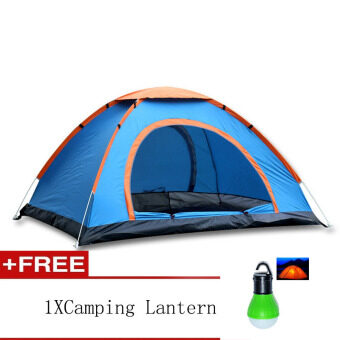 EcoSport 3-4 Person Camping & Hiking Tent +Free CampingLantern(Blue and Orange)