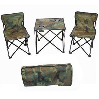 EcoSport 3 in 1 Portable Folding Camping Table and Chairs (ArmyGreen)