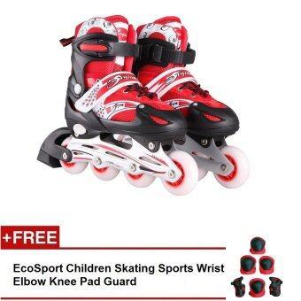 EcoSport Adjustable Inline Skate Full ALL LED Flash Wheels ComboSet (Red)