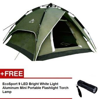 EcoSport Dome Tent For 4 Person (Green) + EcoSport LED Flash Torch Light