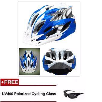 Harga EcoSport FS007 High Quality Safety Cycling Helmet (Light Blue White Line) + UV400 Polarized Cycling Glass