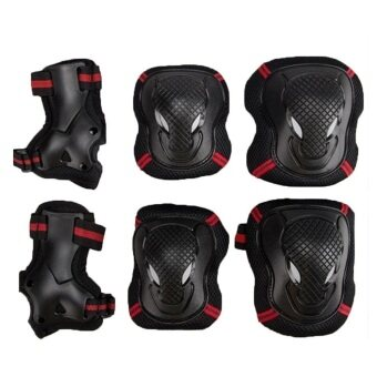 EcoSport High Quality Roller Skating Skateboard Knee Elbow Wrist Protective Guard Pad Gear Pack 6pcs (Red)