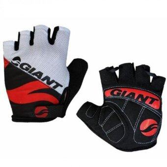 Harga EGC New Giant Half Finger Men Women Cycling Gloves Slip for mtbbike/bicycle guantes summer breathable ciclismo racing luvassport-Red