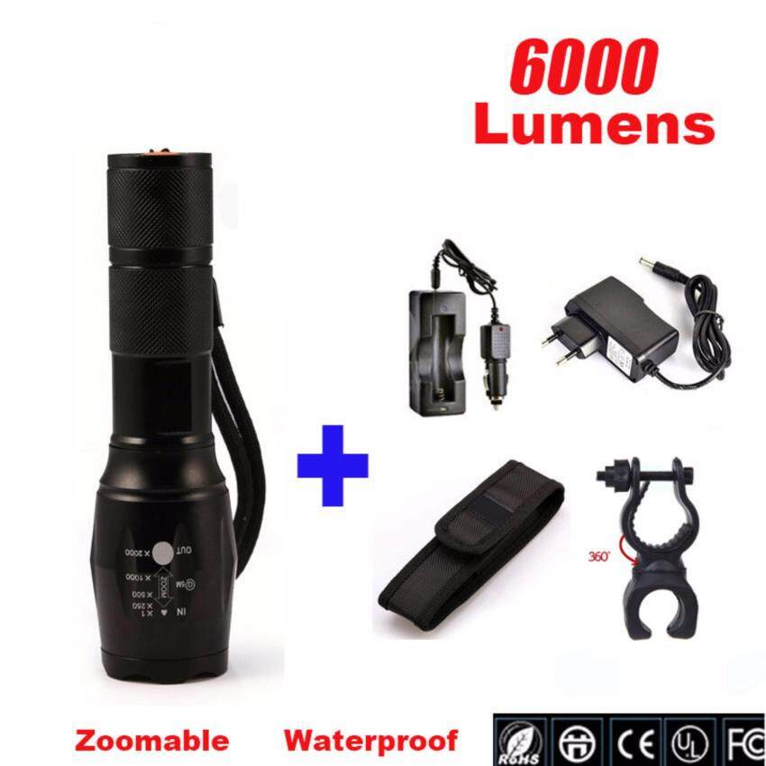 Harga FFY CREE XML-T6 Zoom Flashlight 6000lm Adjustable Zoomable ledFlashlight Lamp Light LED Tactical Torch Lantern Bicycle LightMount Clip
