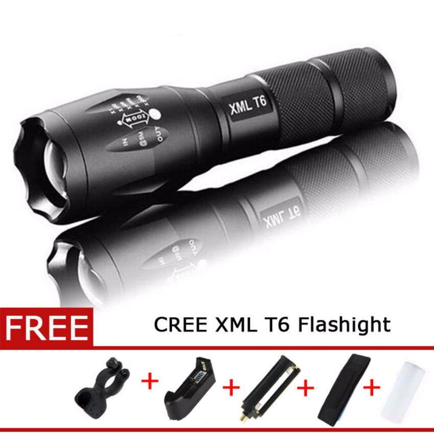 Harga FFY Powerful LED Flashlight CREE XML T6 Lantern Torch ZoomableWaterproof AAA OR 18650 Lamp Hand Light with Charger (US)