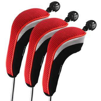 Harga Andux 3pcs/set Golf Hybrid Club Head Cover Driver Headcovers Interchangeable mt/hy01 Red
