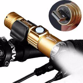 Harga LED Waterproof USB Rechargeable Zooming Mountain Bicycle Headlights Flashlight , Mini Cycle Lamp Flashlight Built-in Battery