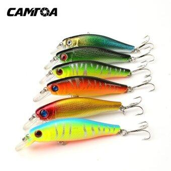 Harga 6pcs/pack Colorful Fishing Lures Artificial Baits Tackle 3D Fish Eyes with Hooks Fishing Accessory