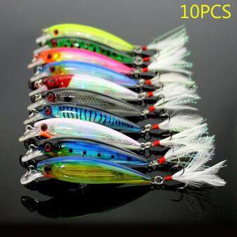 Harga PAlight 10 Pcs Fishing Lure Minnow Wobblers Bait Tackle Artificial Baits Crankbait with Feather Hooks 9cm