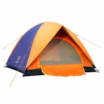 Harga Double Layer Camping Tent 3-4 People Outdoor Tent Hiking Double Door Tent (Blue)