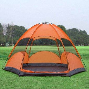 Harga Outdoor Tent 4-5 People Waterproof Camping Tent Blue Orange