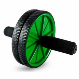 Harga Fitness Double Roller Exercise AB Wheel Fitness Abs Core Abdominal (Green)