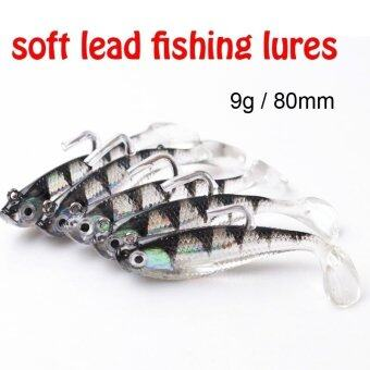 Harga 5Pcs 3D Eyes Lead Fishing Lures with T Tail Soft Fishing Lure Single Hook Baits Artificial Bait Jig Wobblers Rubber