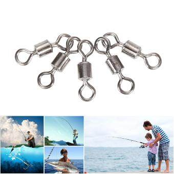 Harga 50PCS Fishing Trace Lures Stainless Steel Wire Leader Spinner w/ Line Swivel 6#