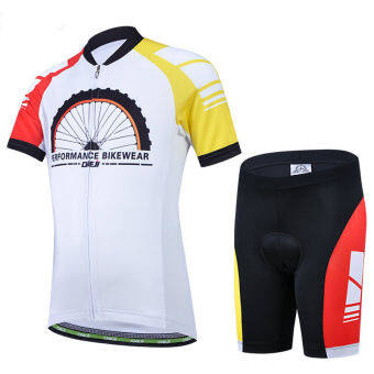 Harga CHEJI 2806 Cycling Suits Jersey Shorts Wheel Print for kids (White)
