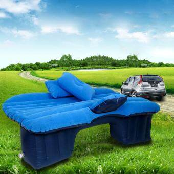 Harga Multifunctional Inflatable Car Mattres Travel Air Bed Camping Car Back Seat with Two Pillows - Blue