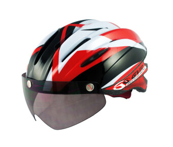 Harga GVR Comet Red Cycling Helmet with Magnetic Attachable Visor
