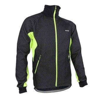 Harga ARSUXEO Men Fleece Thermal Winter Cycling Jacket Windproof Bike Bicycle Wind Coat Clothing Casual Long Sleeve Jersey Water-resistant