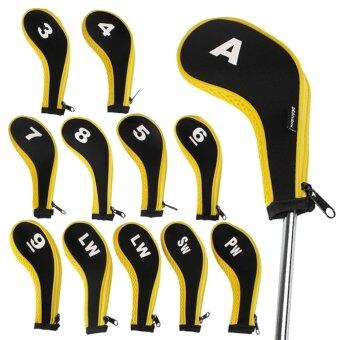 Harga Andux 12pcs/set Number Golf Iron Covers Headcover with Zipper Long Neck mt/w06+2lw Yellow