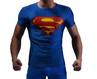 Harga Superman Logo Men Compression Shirt Top Blue