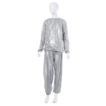 Harga Heavy Duty Sweat Suit Sauna Suit Exercise Gym Fitness Weight Loss Anti-Rip Suit Sliver Size: S/M/L