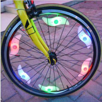 Harga Cycling Bike Bicycle Wheel Spokes Light Waterproof Silica Gel LED Back Light Tire Wire Tyre Laser Tail Warning Lamp (multicolor)(Multicolor)