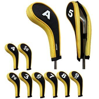 Harga Andux 10pcs/set Golf Iron Head Covers Cover with Zipper Long Neck Mt/w06 Black/yellow