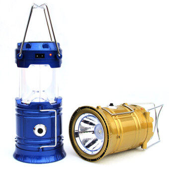 Harga Lifine NEW 6 LED Solar/USB Rechargeable Camping Tent Lantern Fishing Light Lamp Hiking-Blue