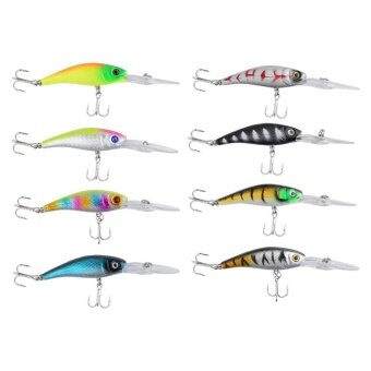 Harga 8pcs 10cm Life-like Fishing Lure Crank Bait Hooks Tackle Diving Sinking Baits Tools