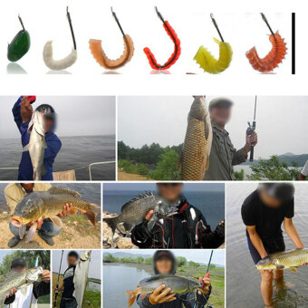 Harga 15Pcs/box Worm Lures Soft Bait Simulation Fishing Lure Sea Worm Artificial Tool Green