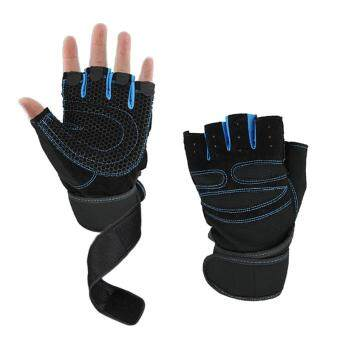 Harga Men Gym Body Building Training Fitness Gloves Sports Equipment Weight Lifting Workout Exercise Luvas Breathable Wrist Wrap Gloves