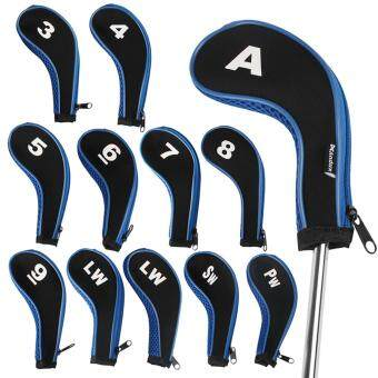 Harga Andux 12pcs/set Number Golf Hybrid Iron Head Covers with Zipper Long Neck Blue
