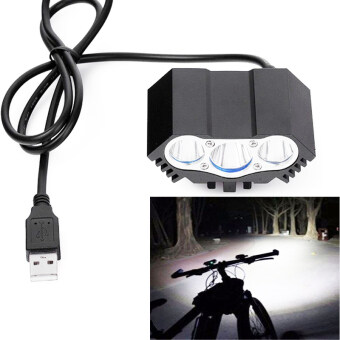 Harga 1 pcs 3 x XML T6 LED Bike Light Bicycle Headlight Bicycle Accessories 5v usb Bike LED Head Front Cycling Torch