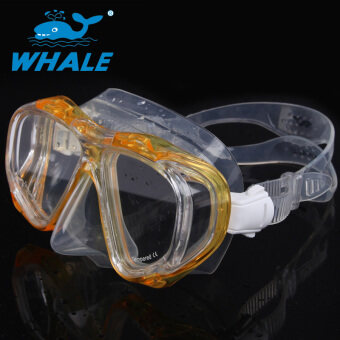 Harga WHALE Scuba Diving Silicone Mask Snorkel Durable Safe Professional Wear Resistant Diving Mask Set Soft Comfortable Swimming Yellow