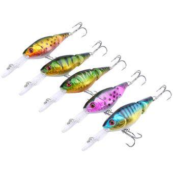 Harga 5pcs 9cm Fishing Lures Crankbaits Hooks Bait Hard ABS 3D Eyes Life-like Lure Tackle Set
