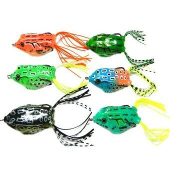 Harga 6pcs Frog Snakeheads Bait Fishing Lures Bass Soft Bait Multicolor