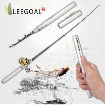 Leegoal Mini Pocket Aluminum Alloy Drum Wheel Pen Shape Fishing Rod Pole (Silver)