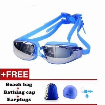 Men Women Anti Fog UV Protection Swimming Goggles ProfessionalElectroplate Waterproof Swim Glasses(Blue)