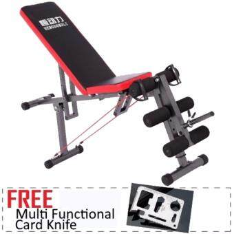 Harga Multi Function Gym Sit Up Dumbbell Bench Chair Six Pack LegExercise FREE Multi Function Card Knife