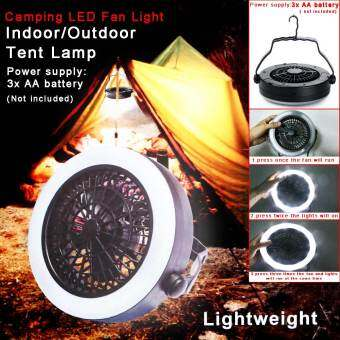 Multifunction Portable Outdoor Camping Travel LED Fan Light LanternTent Lamp With Hook 3 Modes For AA Battery